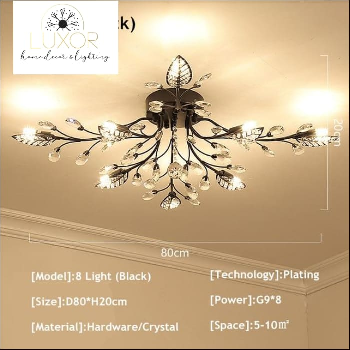 Alexa Luxury Crystal Ceiling Lamp - 8 Light Black / Warm white - ceiling lights