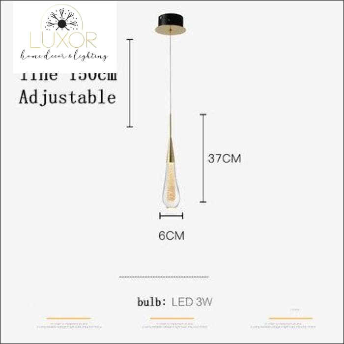 Henzel Teardrop Pendant - 1 Head (Dia6cmx37cm) - pendant lighting