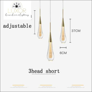 Henzel Teardrop Pendant - 3 Head Short (Dia6cmx37cm) - pendant lighting