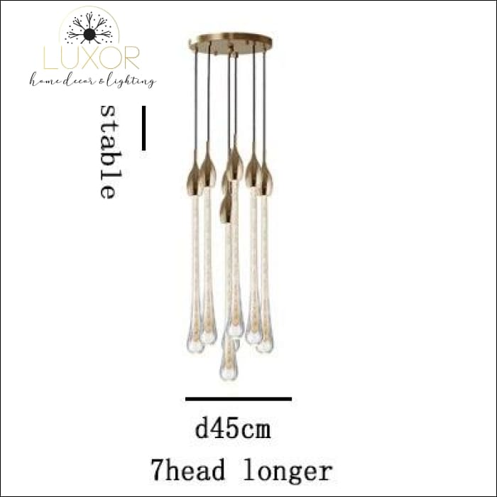Henzel Teardrop Pendant - 7 Head (Dia45cmx150cm) - pendant lighting