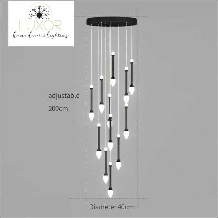 Vixini Staircase Chandelier - 12 lights-Black / Cold light - chandeliers