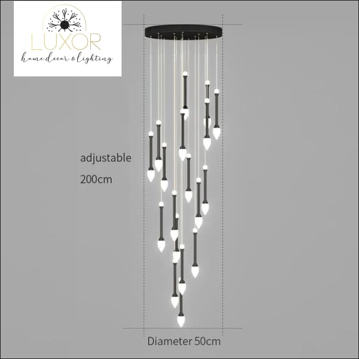 Vixini Staircase Chandelier - 18 lights-Black / Cold light - chandeliers