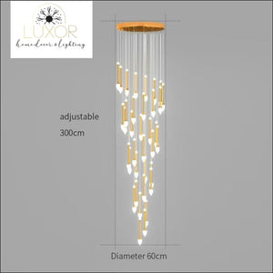 Vixini Staircase Chandelier - 36 lights-Golden / Cold light - chandeliers
