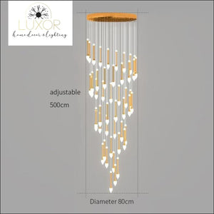 Vixini Staircase Chandelier - 48 lights-Golden / Cold light - chandeliers