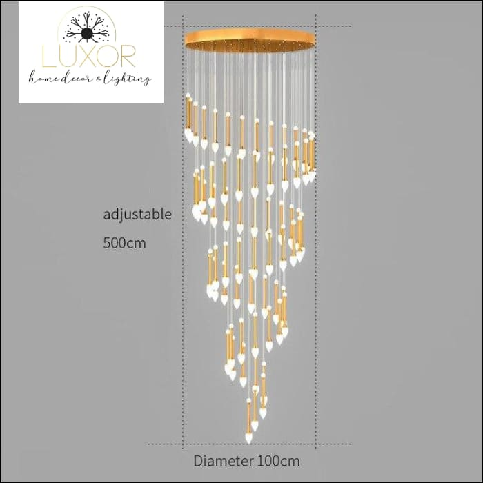 Vixini Staircase Chandelier - 68 lights-Golden / Cold light - chandeliers