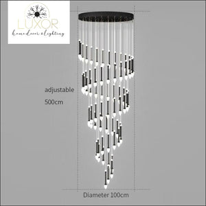 Vixini Staircase Chandelier - 68 lights-Black / Cold light - chandeliers