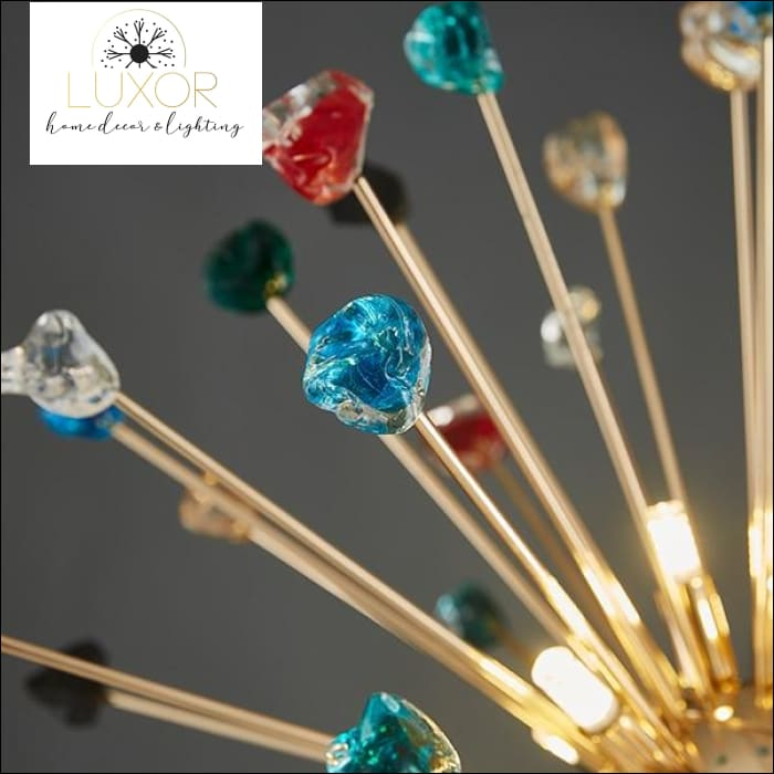 Royalton Round Sparkle Pendant - Colorful Crystals / Dia70cm / Cool light(6000K) - pendant lighting