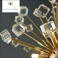 Royalton Round Sparkle Pendant - Clear Cube Crystals / Dia70cm / Cool light(6000K) - pendant lighting
