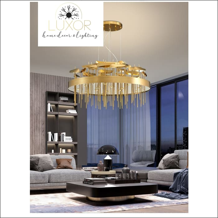 Gold Particles Chandelier - chandeliers