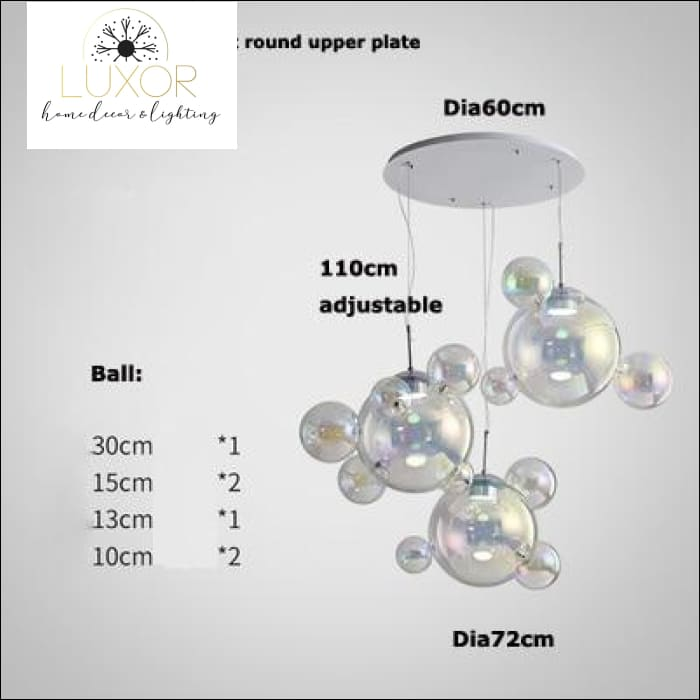 chandeliers Milly Crystal Bubble Glass Chandelier - Luxor Home Decor & Lighting