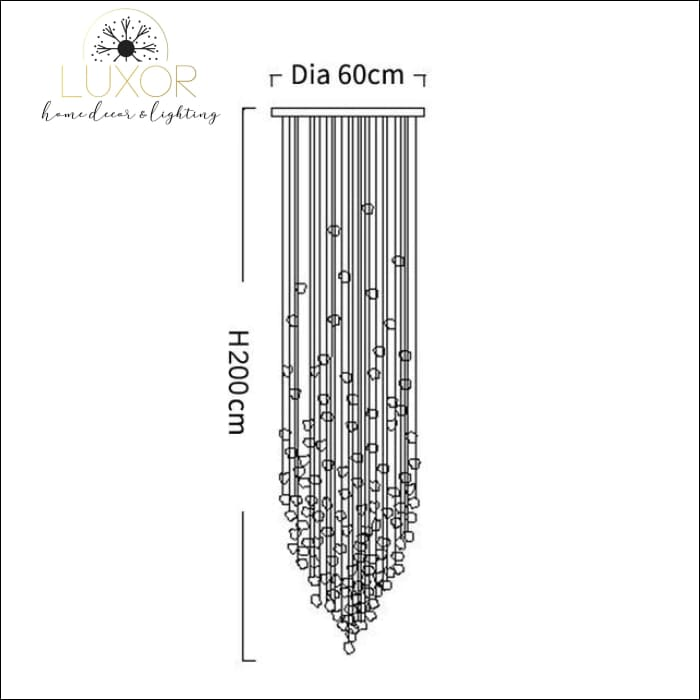 Karman Suspended Glass Chandelier - Dia60xH200cm / Black Stone / Cool light 6000K - chandeliers