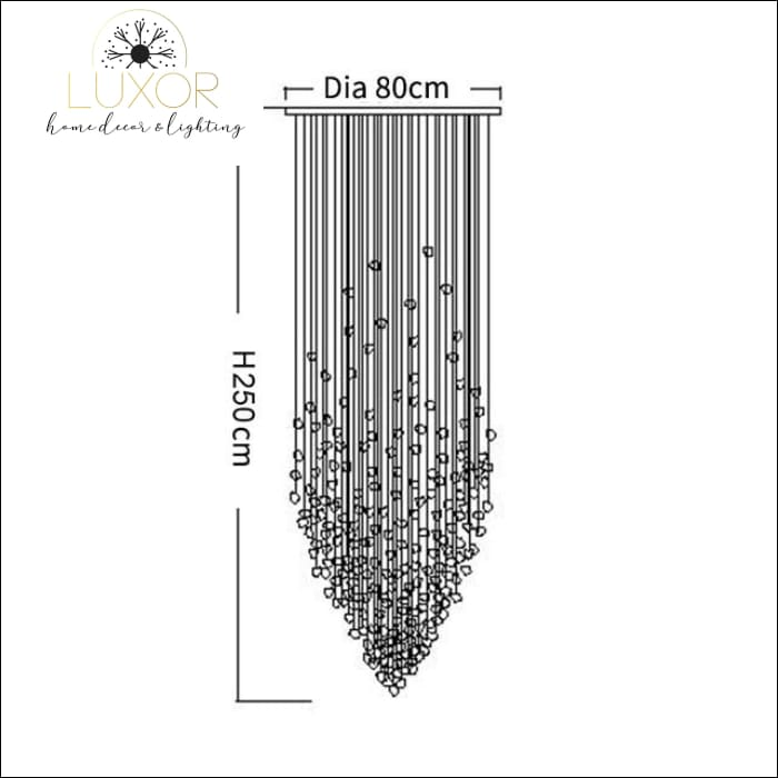Karman Suspended Glass Chandelier - Dia80xH250cm / Black Stone / Cool light 6000K - chandeliers