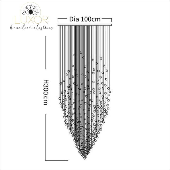 Karman Suspended Glass Chandelier - Dia100xH300cm / Clear Stone / Warm light 3000K - chandeliers