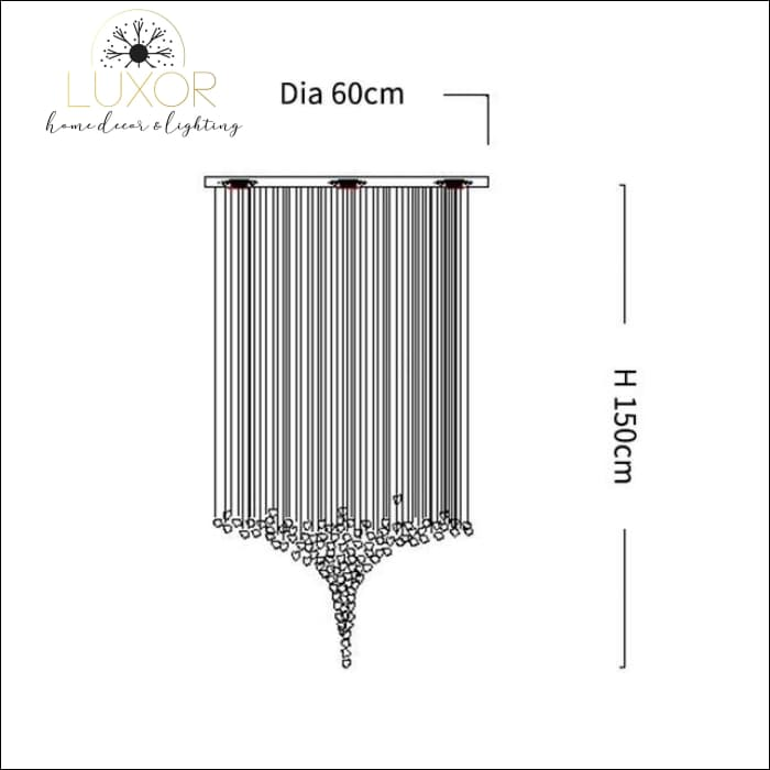 Karman Suspended Glass Chandelier - Dia60xH150cm / Black Stone / Cool light 6000K - chandeliers