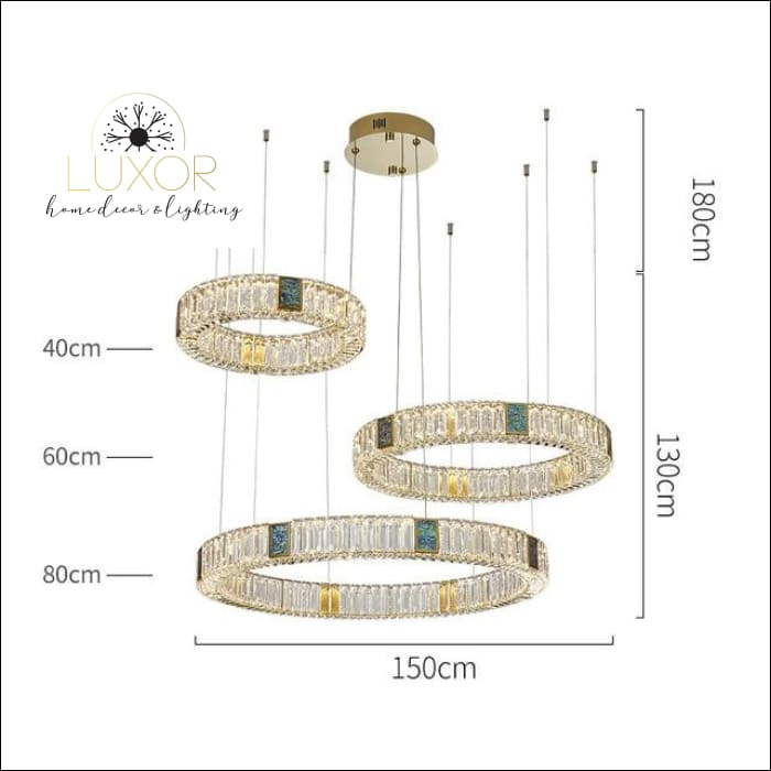 Bryony Crystal Chandelier - Dia150cm 3 ring / Cold White - chandelier