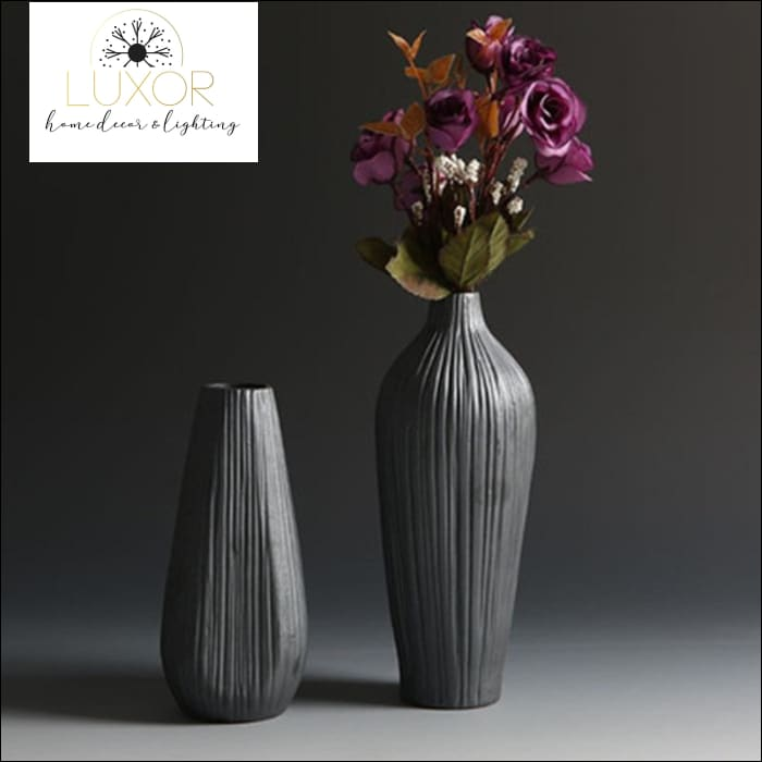 vases Retro Fashion Classic Black Ceramic Vase - Luxor Home Decor & Lighting