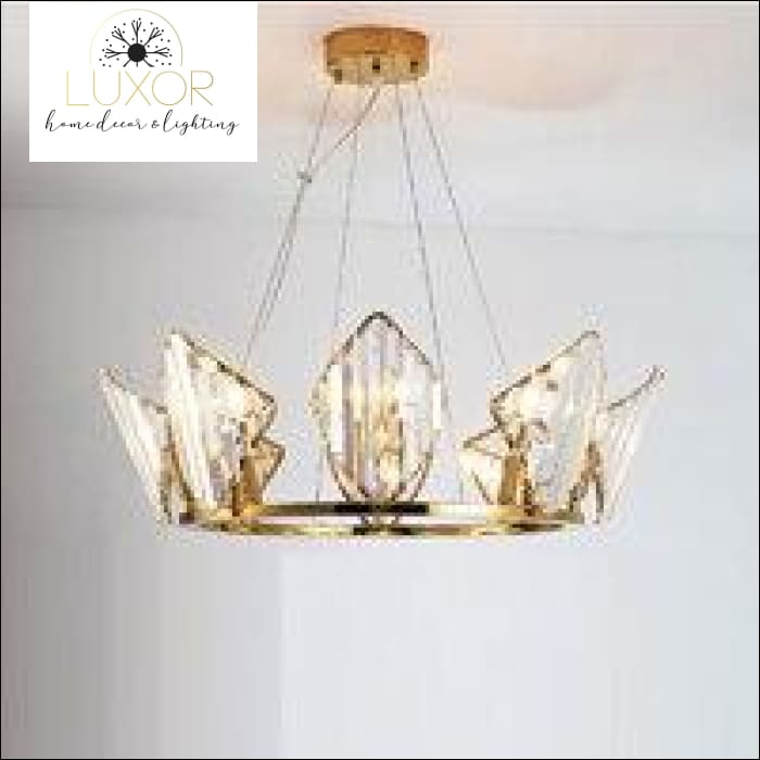 Diamond Lux Crystal Chandelier - Gold / >7 / Dia63xH22cm L Warm White - chandeliers