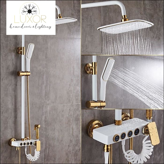 faucets Jeffrey White Modern Shower Set - Luxor Home Decor & Lighting