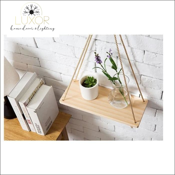 Christo Hanging Rope Shelf Planter Storage Rack - wall decor
