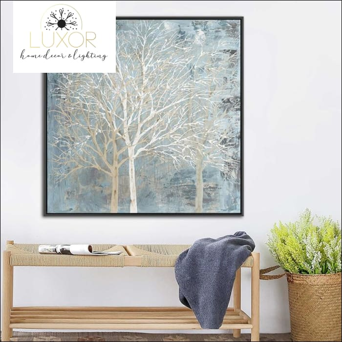 Blue Skies & Trees Oil Painting Framed - wall decor