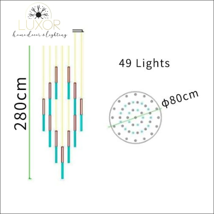 Obilina Luxury Spiral Crystal Chandelier - 80 x 280 cm - 49 Lights / Warm Light 3000K - chandelier