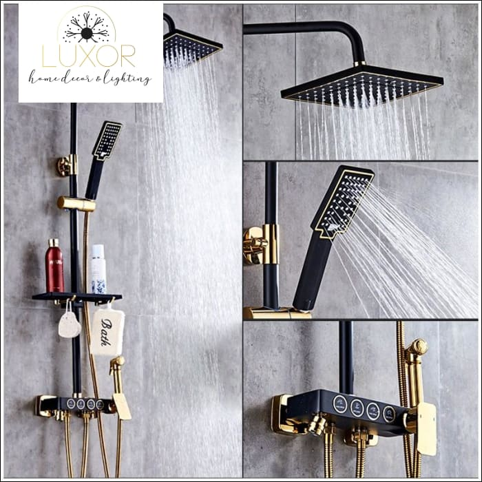 faucets Jeffrey Modern Shower Set (Black) - Luxor Home Decor & Lighting