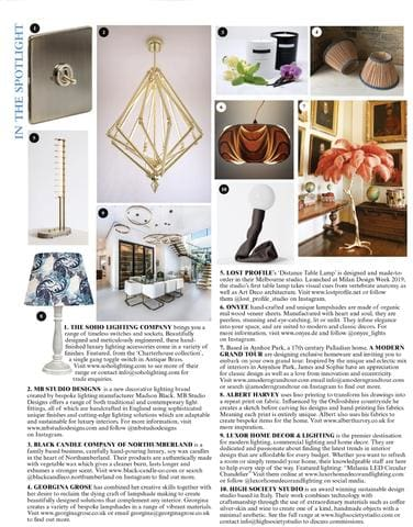 As Featured In The World Of Interiors Magazine In The Spotlight - October Edition
