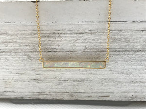 Synthetic Opal Bar Necklace $28.00