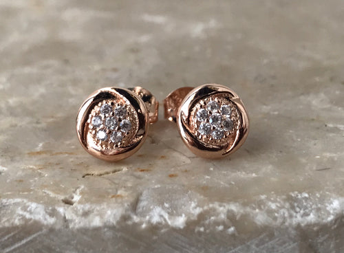 14K Rose Gold and CZ Earrings $23.00