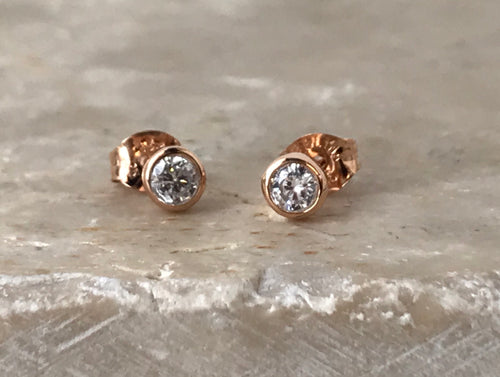 14K Rose Gold Plated Bezel 4mm CZ Earrings $13