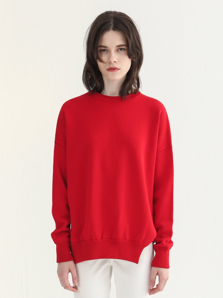 Red Side Slit Knitted Top