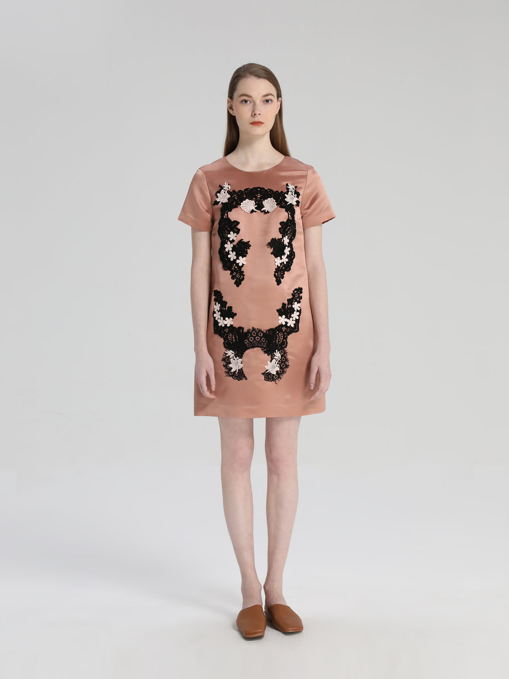 Pink Lace Embroidered Silk Dress