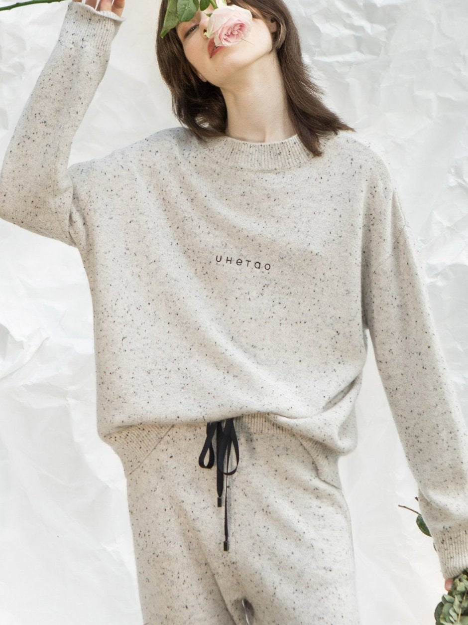 Light Grey Logo Speckled Knitted Top