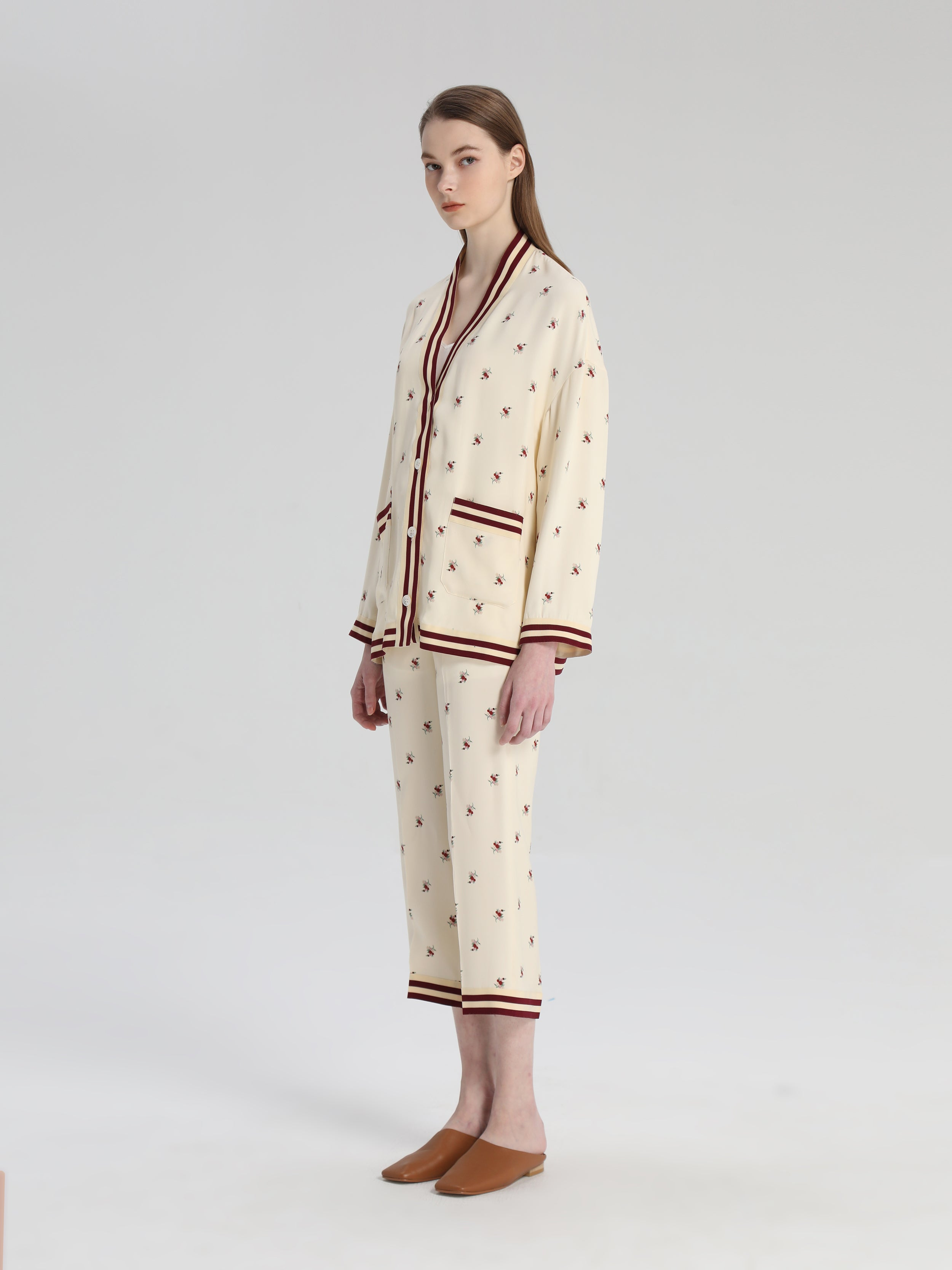 Cream Silk Floral Jacket