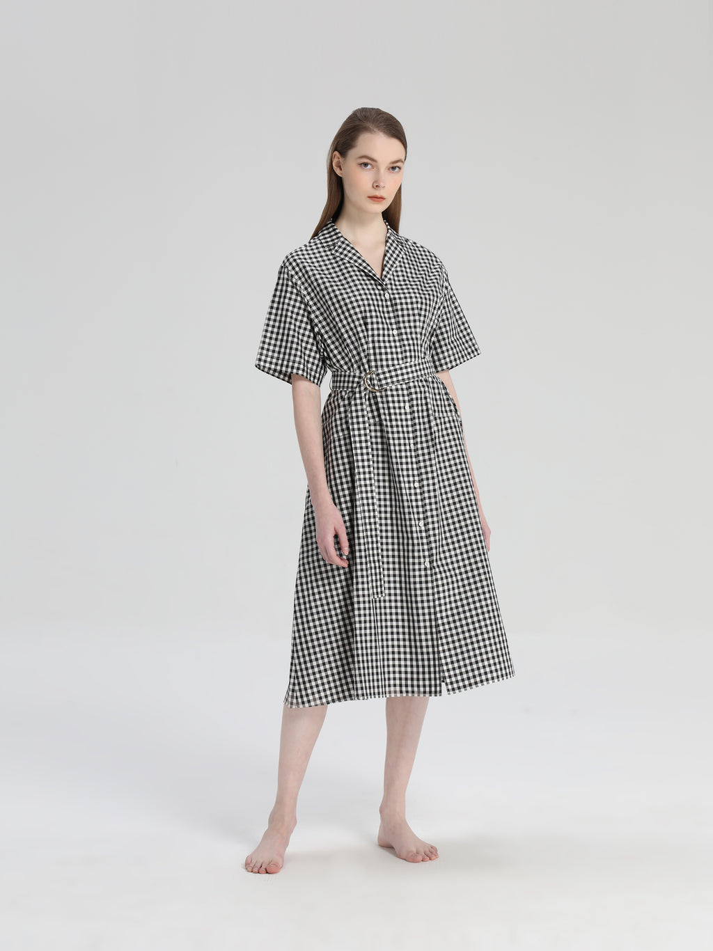 Checked Silk Dress