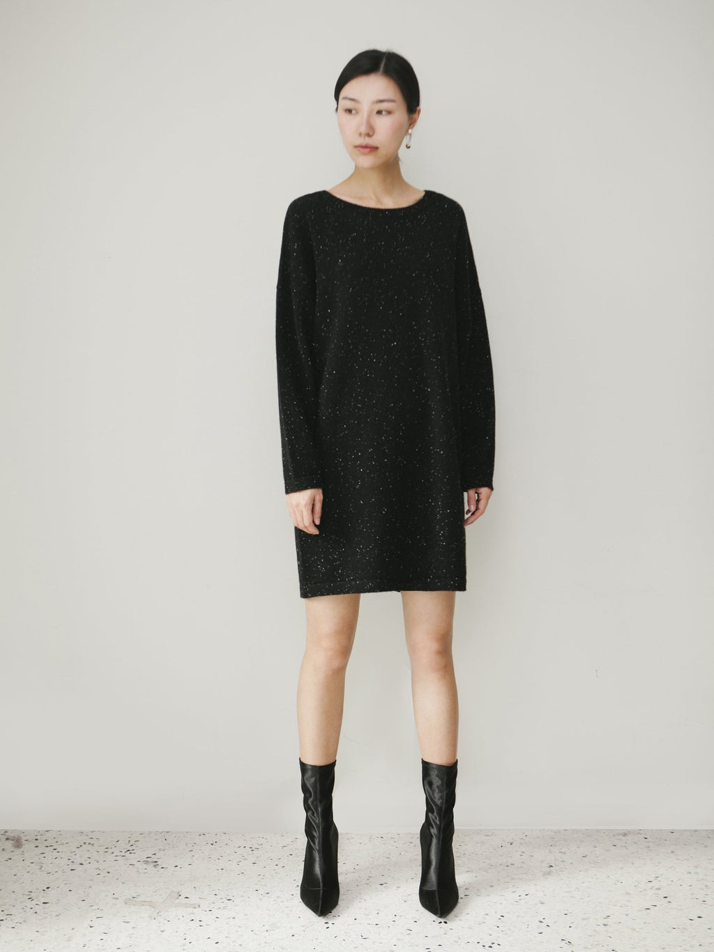 Black Metallic Knitted Dress