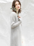 Light Grey Ribbed Knitted Dress