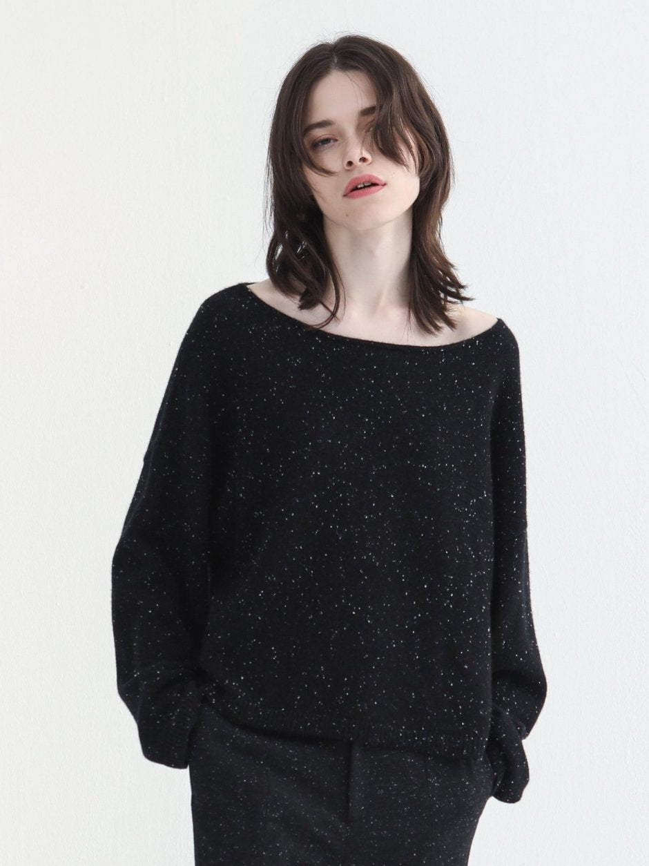 Black Metallic Wide Neck Knitted Top
