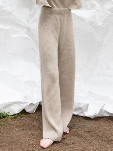 Light Beige Ribbed Knitted pants