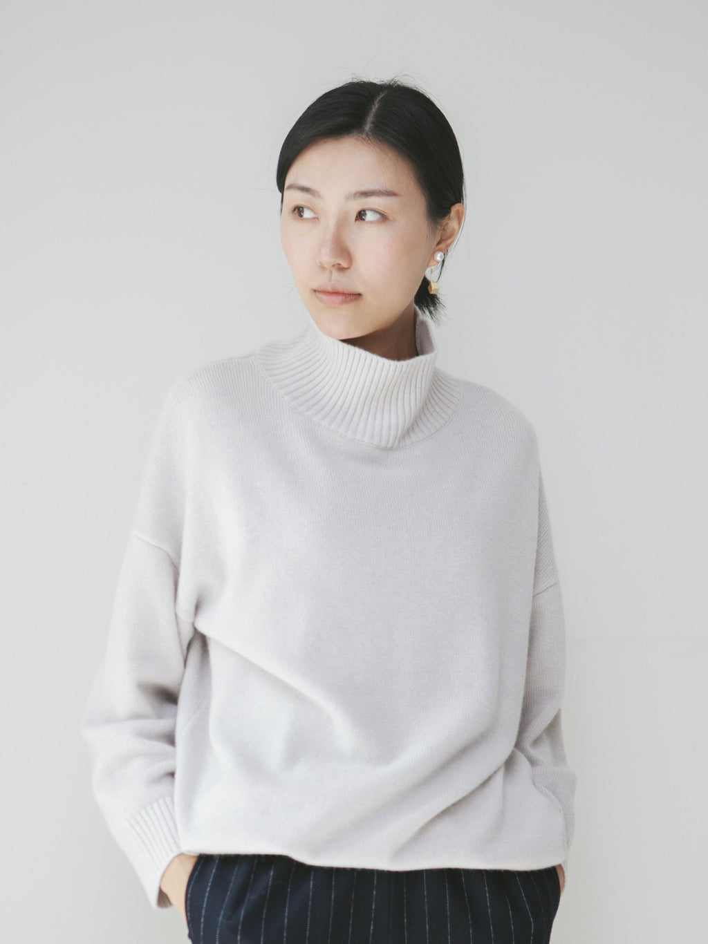 Light Grey Funnel Neck Knitted Top