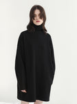 Black Turtleneck Longline Sweatshirt