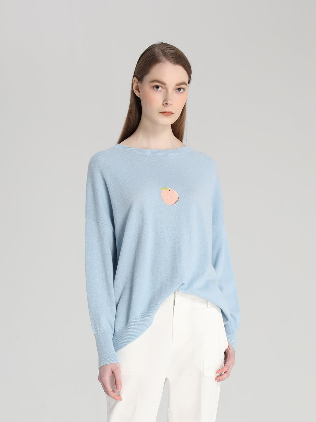 Light Blue Peach Knitted Top
