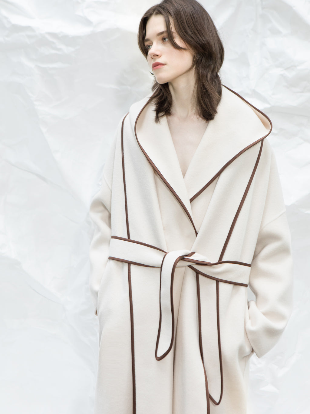 Cream Hooded Wrap Coat