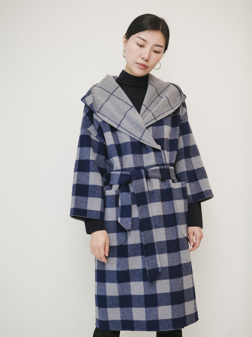 Reversible Hooded Plaid Coat