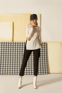 0281841507 Fine Rib Sweater with Elbow Cut-out