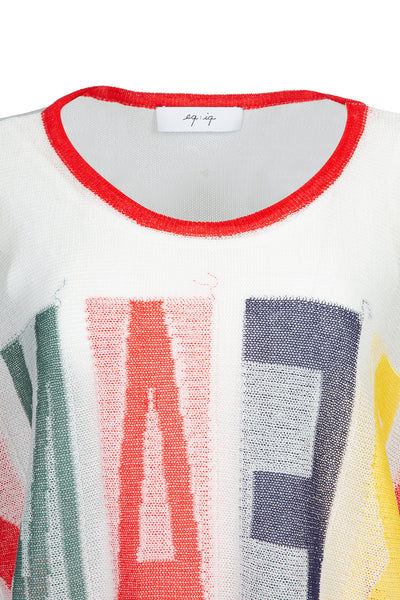 0281921503 Multicolor statement front knit top