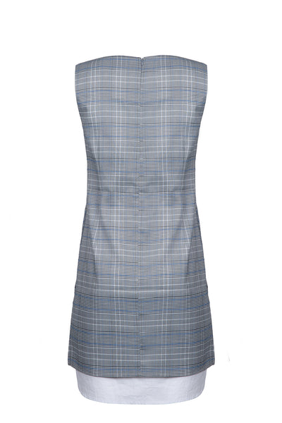 0681921702 Checked contrasting shirt dress