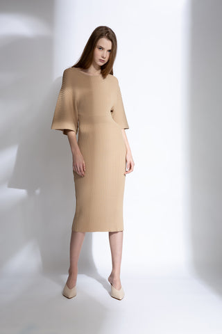 0281921704 Wide sleeves knit midi dress