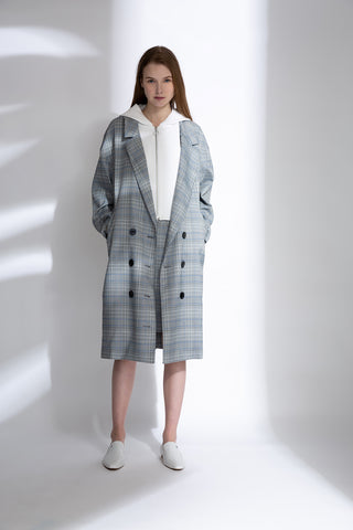 0681921901 Checked double breasted longline blazer