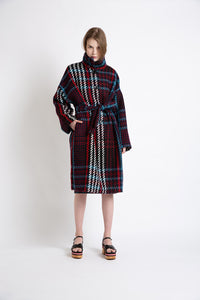 0281921903 Multicolor plaid belted coat